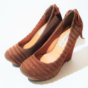 Naughty Monkey Tweed/Suede Stripe Wedge Heel Shoes
